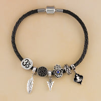 Peace and Protection Leather Bracelet