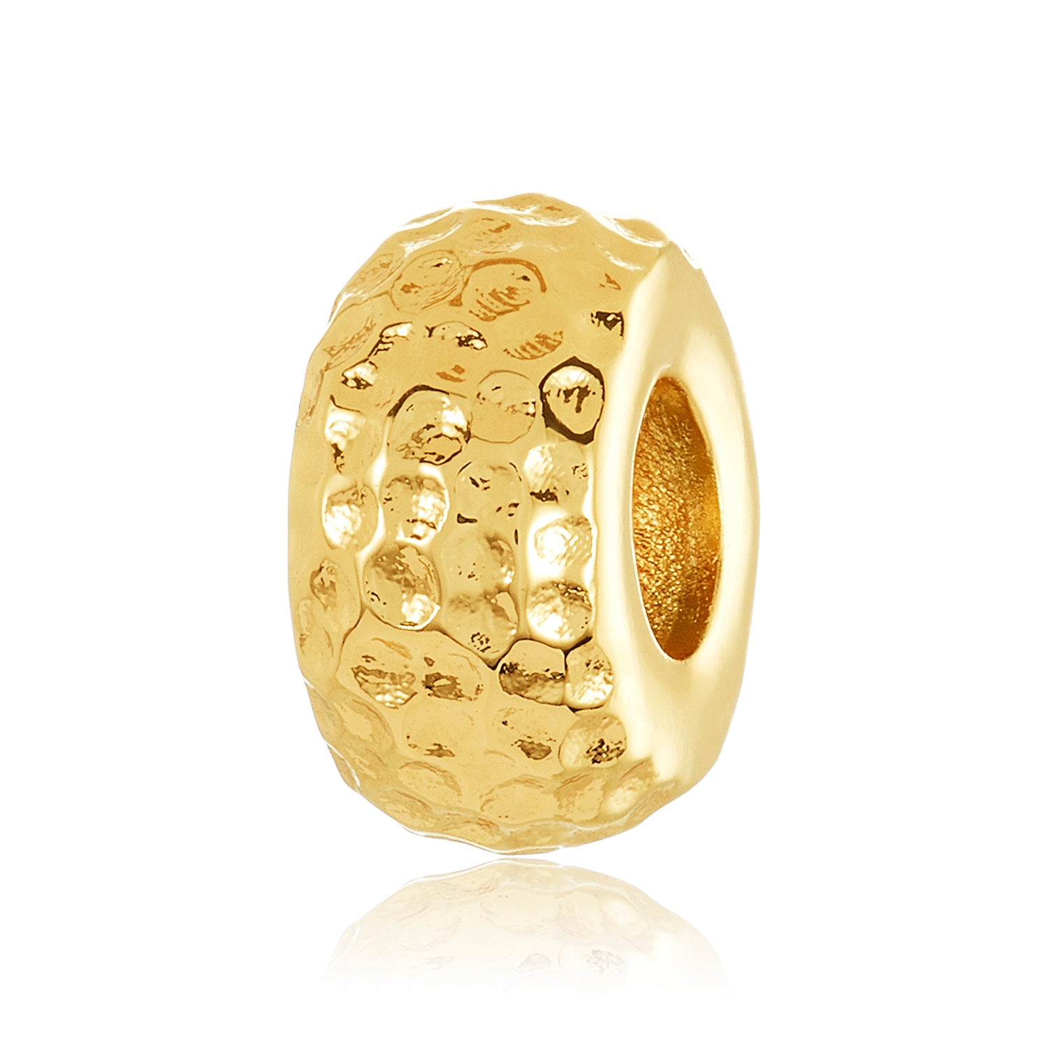 Gold spacer with hammer design to be used on DBW interchangeable bangle bracelets.  Gold spacers sold in pairs.