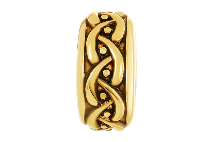 Gold weaved design DBW spacer to be used with DBW interchangeable bracelets.  Spacers sold as pairs.