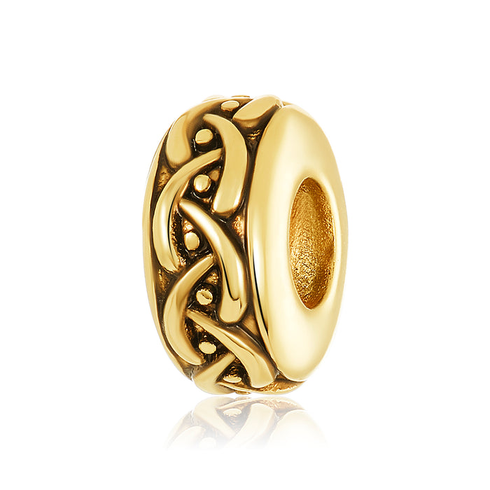 Gold spacer with weaved design to be used with DBW interchangeable bangle bracelets.  Spacers sold as a pair.