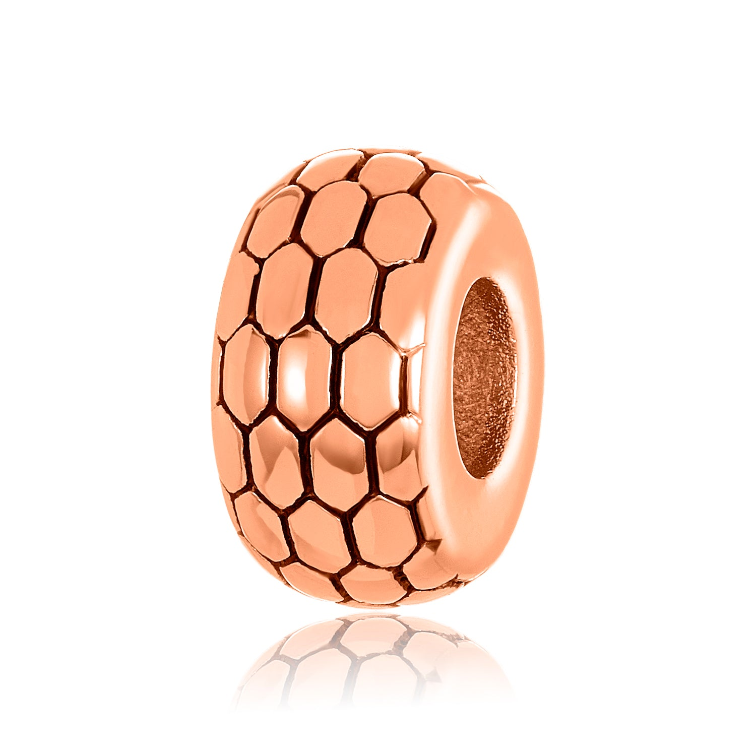Rose gold charm/bead spacer with a patterned design for use on DBW interchangeable bangle bracelets.  Rose gold charm/ bead spacers sold as pair.
