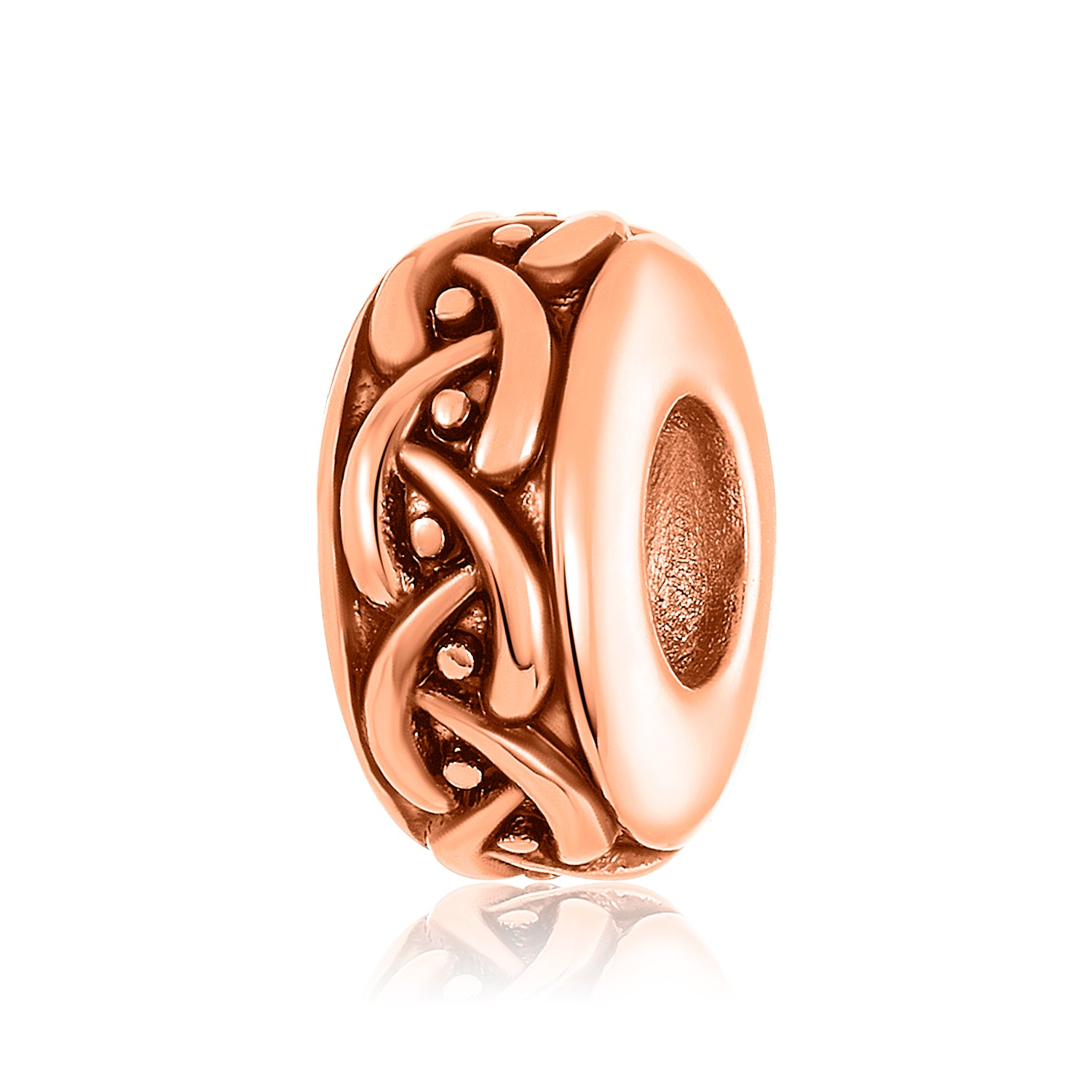 Rose gold charm/bead spacer with a weaved pattern design for use on DBW interchangeable bangle bracelets.  Rose gold charm/ bead spacers sold as pair.
