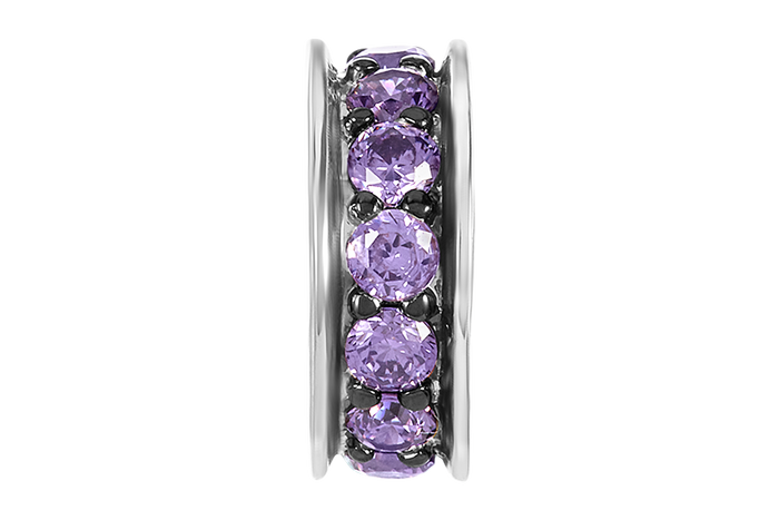 Silver spacer with single row of amethyst color CZ stone.  Spacers separate DBW charms and beads.