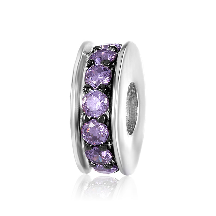 Silver spacer with single row of amethyst CZ to be used on DBW interchangeable bangle bracelets.  Silver spacers sold in pairs.