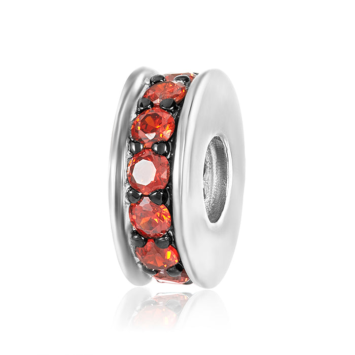 Silver spacer with single row of garnet CZ's to be used on DBW interchangeable bangle bracelets.  Silver spacers sold in pairs.