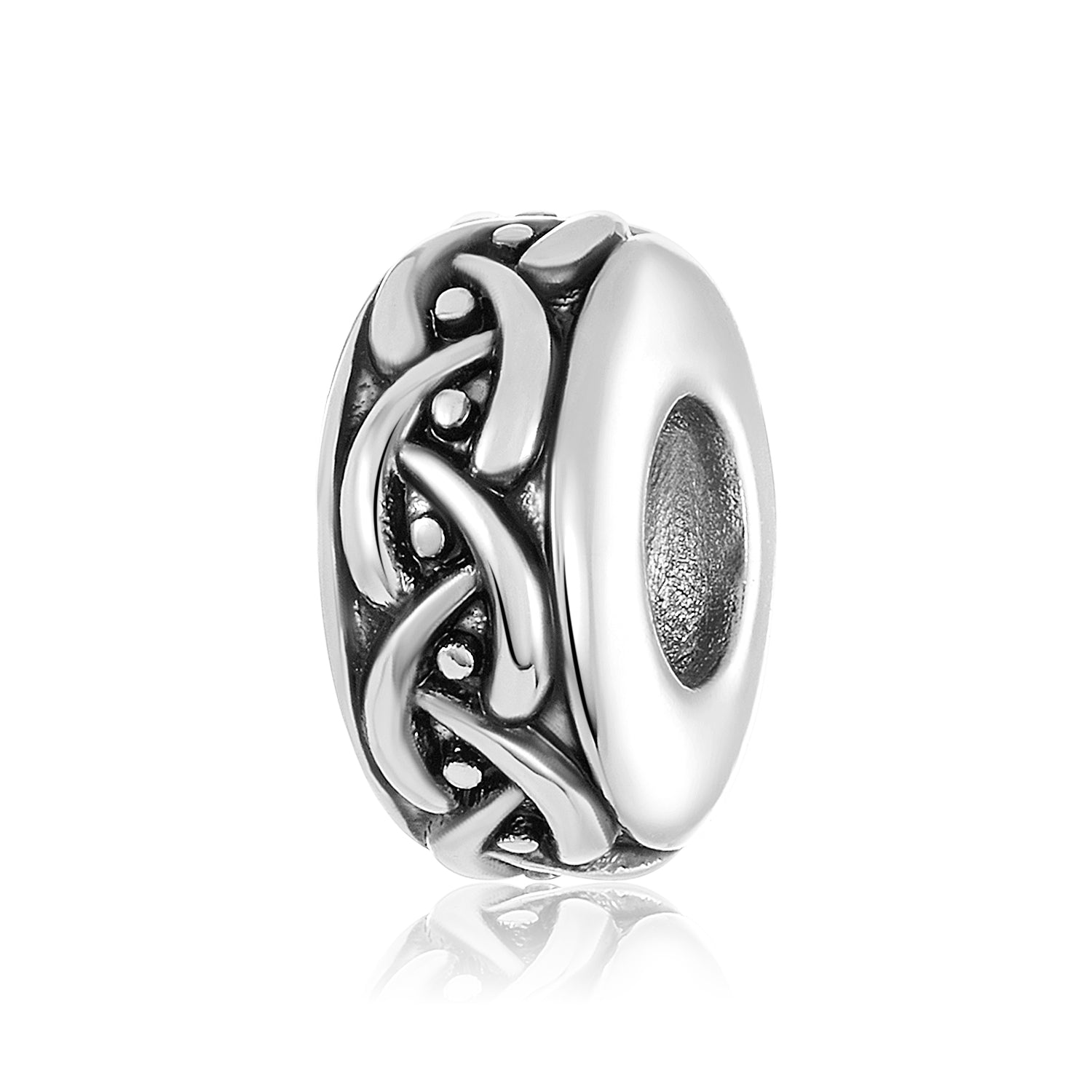 Silver charm/bead spacer with weaved design to be used on DBW interchangeable bangle bracelets.  Silver spacers sold in pairs.