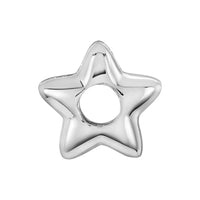 Silver star shaped charm/bead spacer for use on DBW interchangeable bangle bracelets.  Silver spacers sold in pairs.