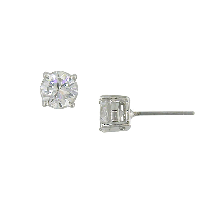 4 ct tw rhodium stud earrrings