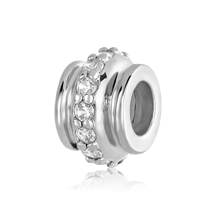 Silver charm/bead stopper with single row of clear CZ stones. Silver stopper pair holds DBW charms and beads in place.