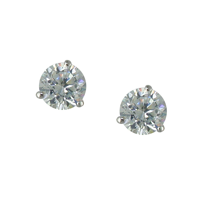 1/2 ct tw Martini set studs Rhodium