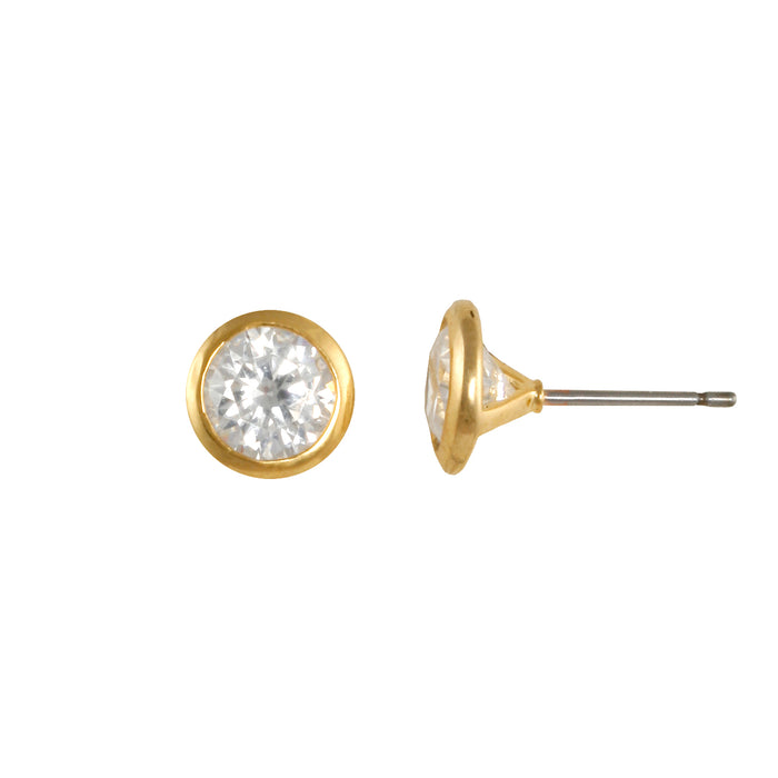 2 ct tw CZ bezel set gold stud earring