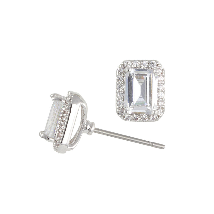 Rhodium emerald cut stud earrings