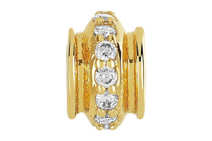Gold fluted charm & bead stopper with row of clear CZ stones. Stopper holds DBW charms and beads in place on bangles.
