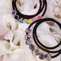 Black Leather Wrap Bracelet with 7 Chakra Beads