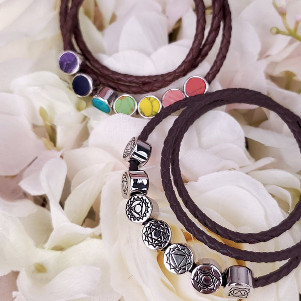 Brown Leather Wrap Bracelet with 7 Chakra Beads