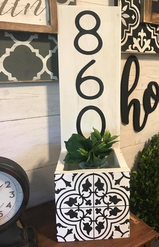 planter box with address number