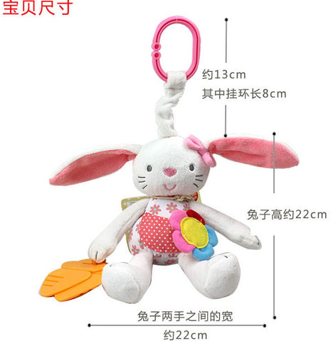 Baby Toy Soft Rabbit Bunny Plush Doll Baby Rattle Ring Bell Crib Bed Hanging Animal Kids Toy - BabyBus Stop