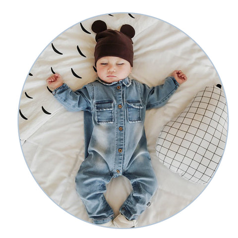 2017 Soft Denim Baby Romper Graffiti  Infant Clothes Newborn - BabyBus Stop
