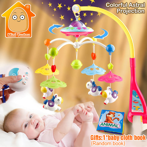 MiniTudou Baby Toys 0-12 Months Crib Mobile Musical Bed Bell With Animal Rattles Projection Cartoon Early Learning Kids Toy - BabyBus Stop