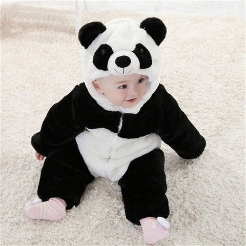 2016 New Baby Animal Costume  Cute Climbing Pajamas Romper Jumpsuit Coverall Lovely Panda Rompers for Kids - BabyBus Stop