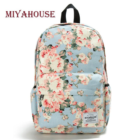 Miyahouse Fresh Style Women Backpacks Floral Print Bookbags Canvas - BabyBus Stop