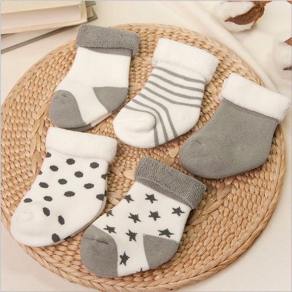 5 pairs  newborns Winter socks - BabyBus Stop