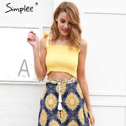 Simplee Ruffle strap tank top tees women crop top Casual fitness - BabyBus Stop