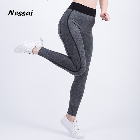Nessaj Women Sexy Cropped Leggings High Waist Elastic Slim Trousers 34 C Force Exercise Female Elastic Stretchy Leggings - BabyBus Stop