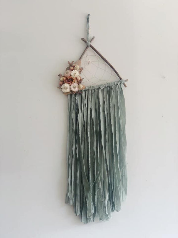 Triangle Driftwood Dream Catcher- Mint
