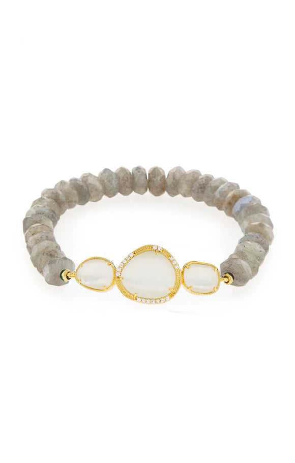 Labradorite Stretch Bracelet with Bezel Set Moonstone Accents
