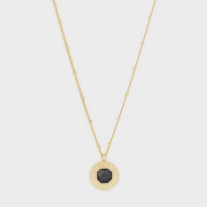 Power Gemstone Coin Necklace for Protection