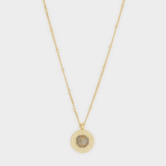 Power Gemstone Coin Necklace for Balance