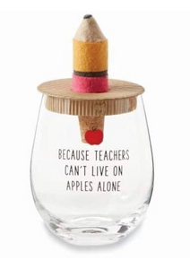 Teacher Stemless Wine Glass + Pencil Stopper