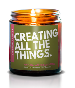 Creating All Things 4 oz Soy Candle- Sandalwood & Musk