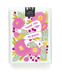 Floral Banner Thank You Card- Box Set of 8