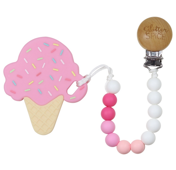 Ice Cream Cone Pink Silicon Teether with Clip