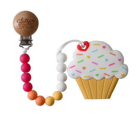 Cupcake Silicon Teether with Clip