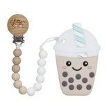 Bubble Tea Silicon Teether with Clip