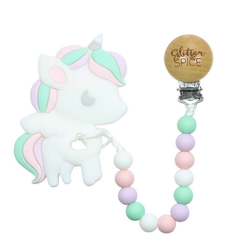 Unicorn Silicon Teether with Clip
