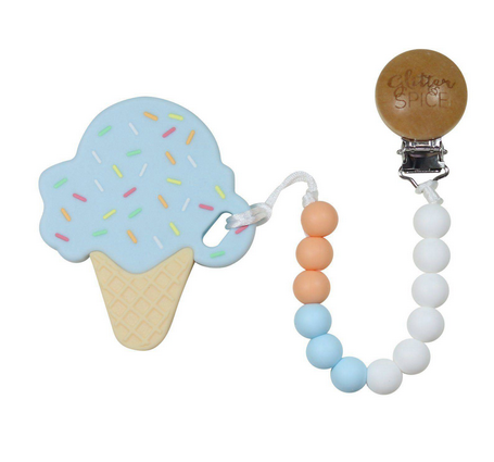 Ice Cream Cone Blue Silicon Teether with Clip