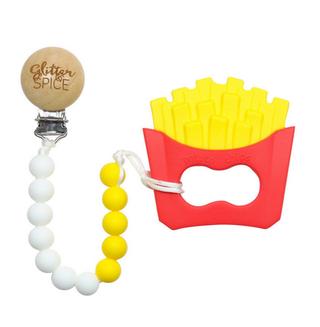 French Fry Silicon Teether with Clip