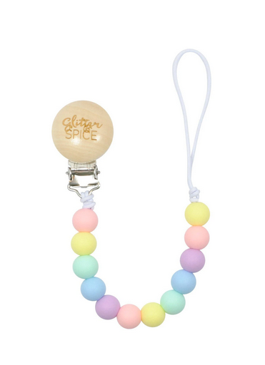 Silicone Pacifier Clip- Rainbow