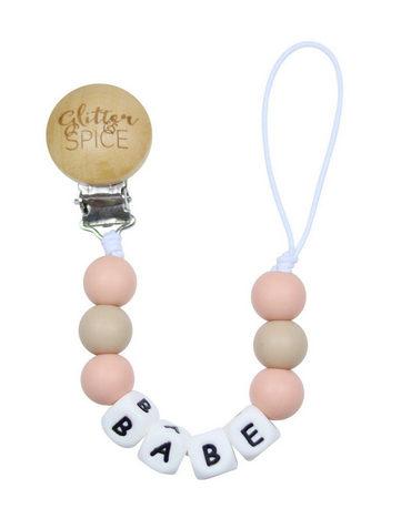 Silicone Pacifier Clip- BABE