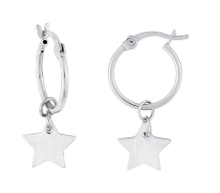Kaia Star Hoop Earrings Silver