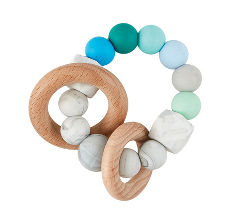 Natural Wood & Silicon Teether- Blue/Green