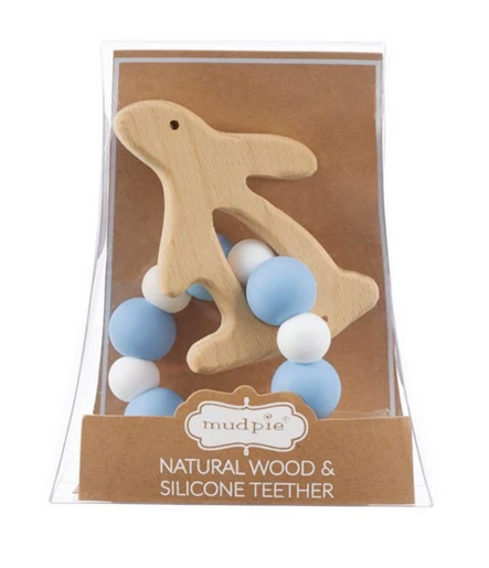 Blue Bunny Natural Wood & Silicone Teether