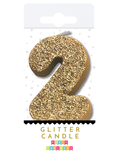 Gold Glitter Number Candles 0-9