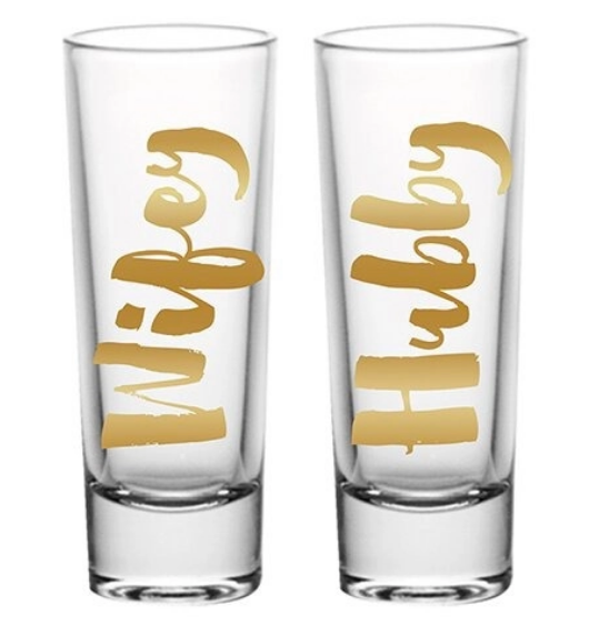 Wifey Hubby Shot Glass Set of Two
