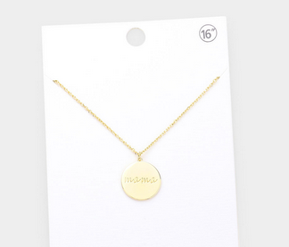 Gold Mama Round Pendant Necklace