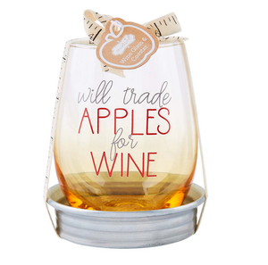 Apple Teacher Wine Glass and Coaster Set
